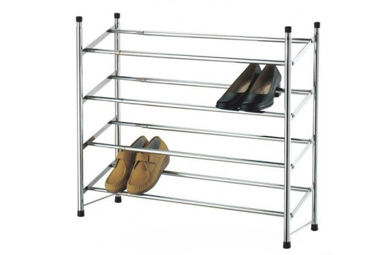 2 or 4 Tier Extendable Chrome Shoe Rack from £7.99