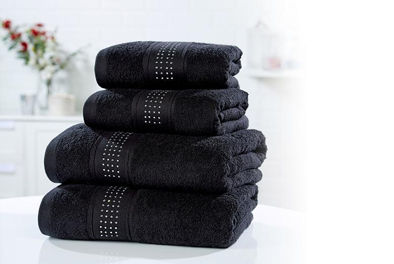 2pc or 4pc Diamante Towel Sets – 3 Colours! for £12.00