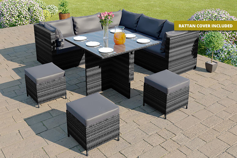 9-Seater Modular Corner Cube Rattan Dining Set – Cover Included! for £489.00