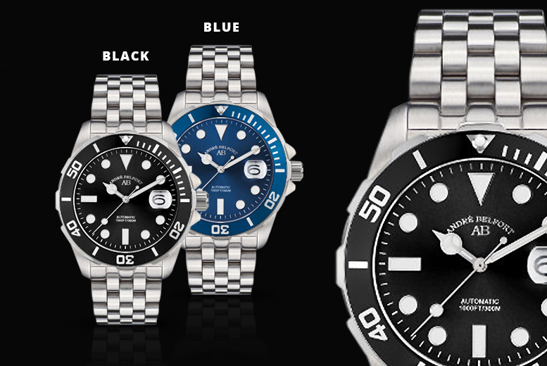 André Belfort Luxury Automatic Rolex-Style Diver's Watch - 5 Designs!