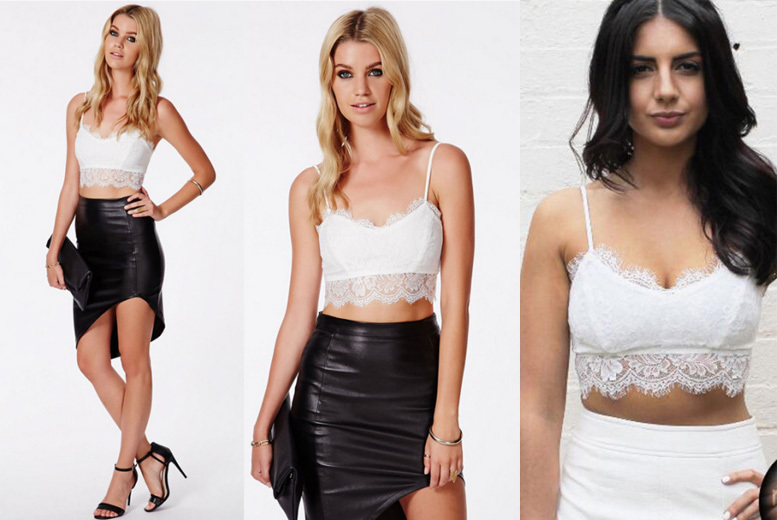 White Lace Crop Top – UK 8-12! for £4.99