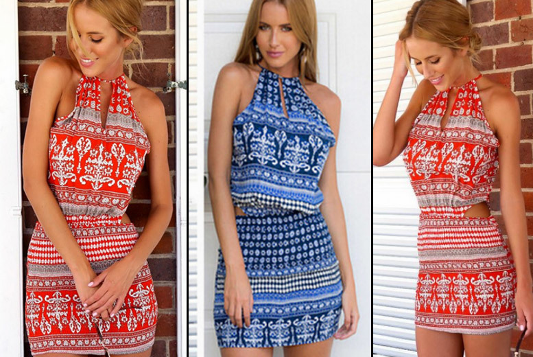 Sleeveless Printed Dress – 2 Colours! for £8.00