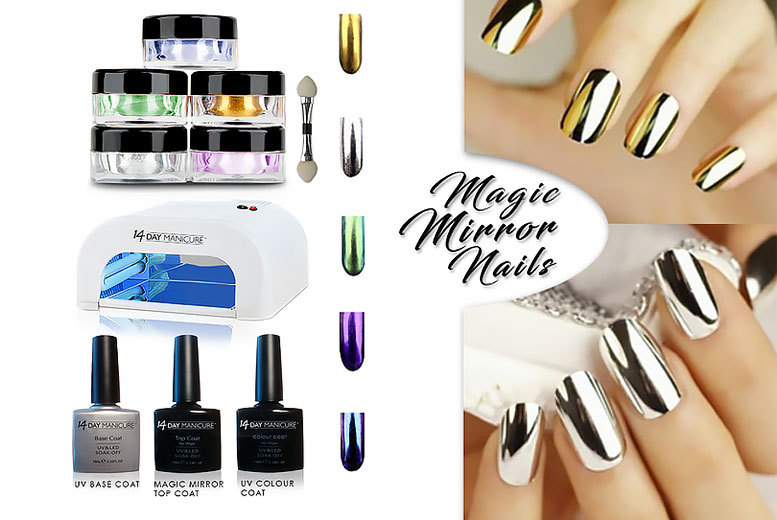 £34 instead of £192.99 (from 14 Day Manicure) for a mirror nail UV kit with five colour powders - get your nails looking fabulous and save 82%