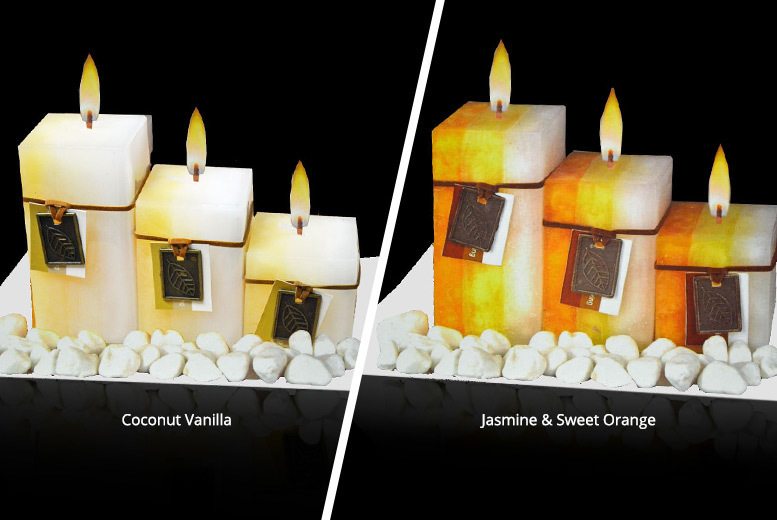 Set of 3 Aromatic Wax Candles On Frosted Glass - 9 Scents!