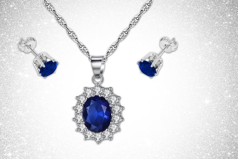 Blue Princess Pendant & Cubic Zirconia Earrings Set for £12.00