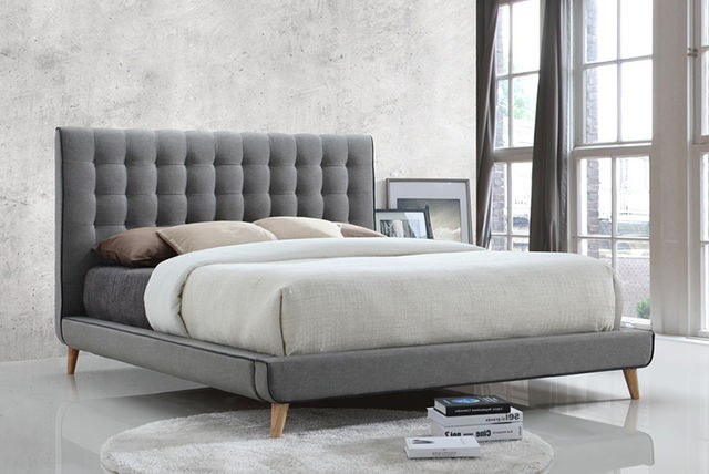 stockholm grey fabric bed 2 sizes optional mattress. Black Bedroom Furniture Sets. Home Design Ideas