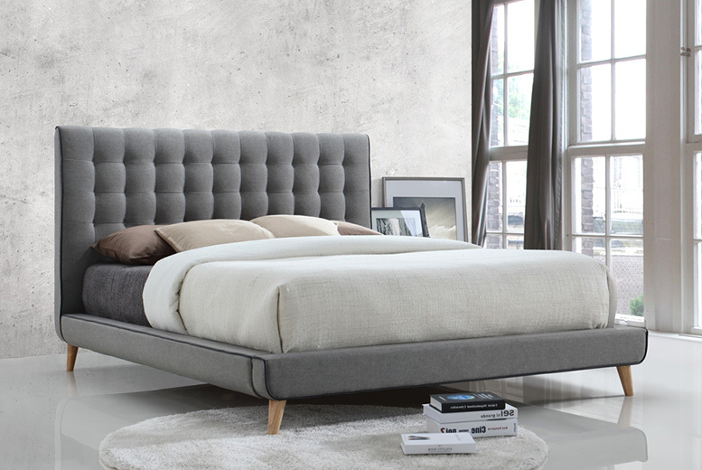 Stockholm Grey Fabric Bed - 2 Sizes & Optional Mattress!