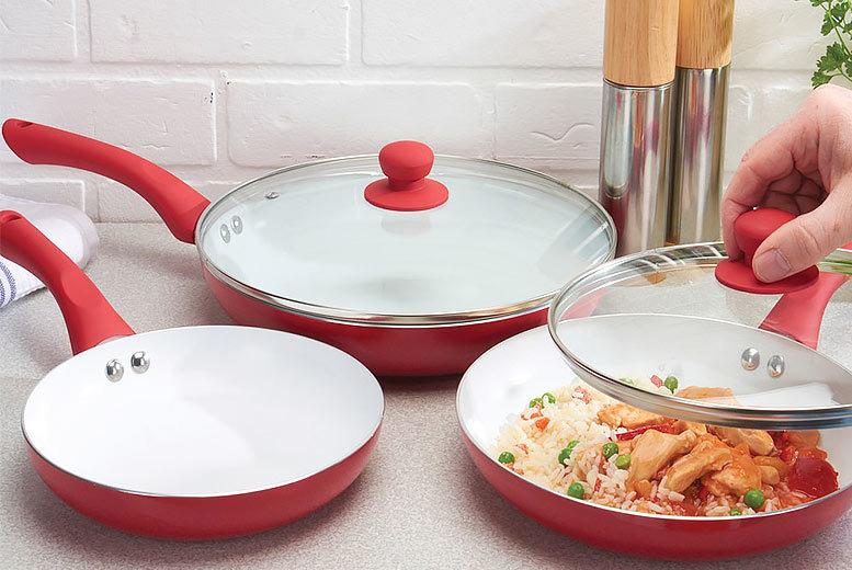 Jean-Patrique 3pc Ceramic Pan Set – 3 Colours! for £17.99