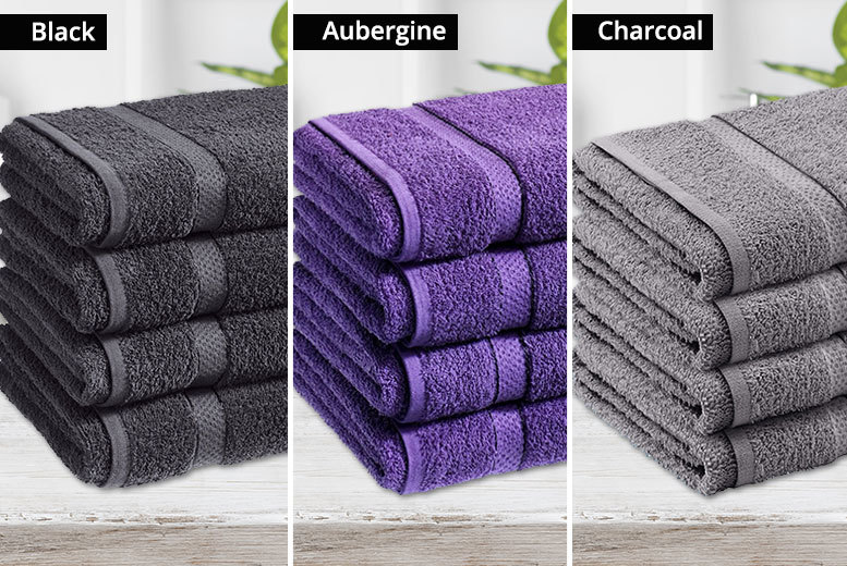 4 Egyptian Cotton Bath Towels – 500gsm & 10 Colours! for £14.00