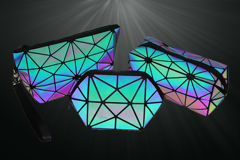 Iridescent Geometric Makeup & Travel Bag – 3 Sizes! from £4.99