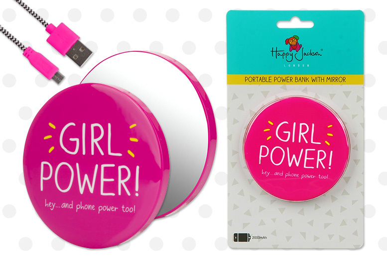 Happy Jackson 'Girl Power' Power Bank & Mirror for £6.99