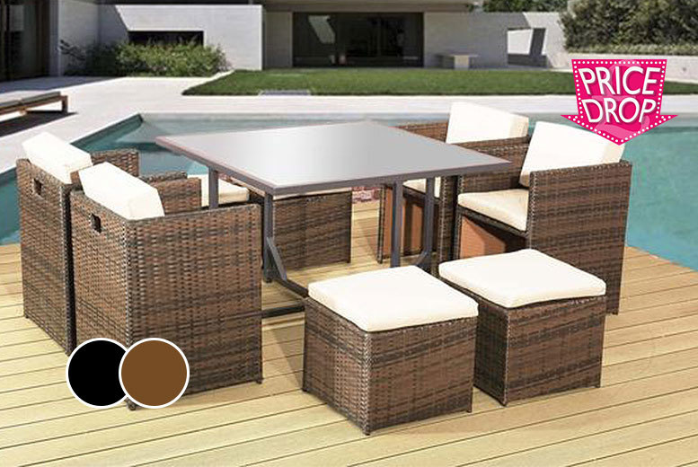 £239 instead of £670 (from Alexander Morgan) for a nine-piece rattan garden dining set - choose black or brown and save 64%