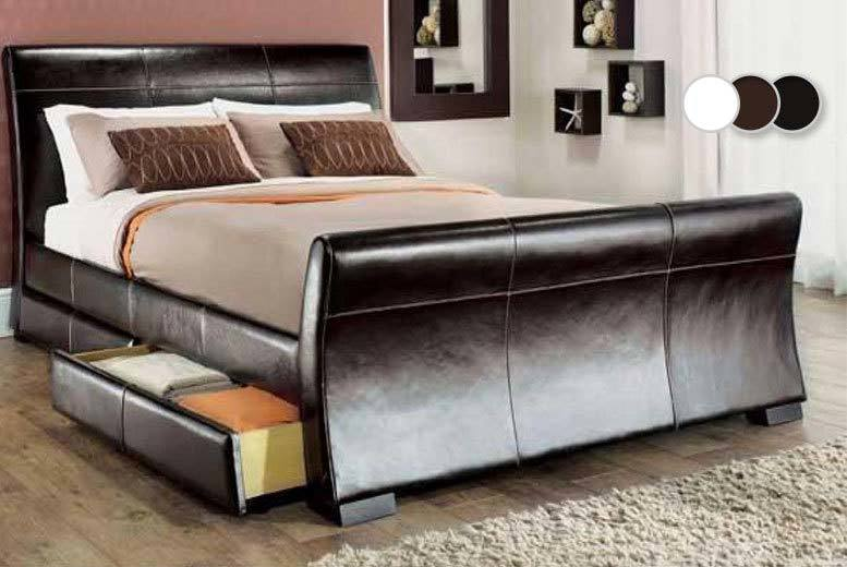 From £129 instead of up to £569.01 (from Giomani Designs) for a faux-leather sleigh storage bed frame with optional mattress - choose double or king size and save up to 76%
