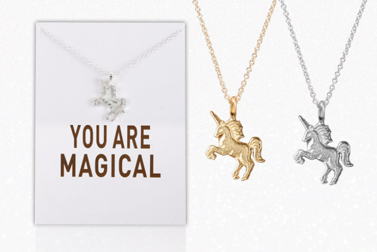 'You Are Magical' Unicorn Necklace – 2 Colours! for £5.00