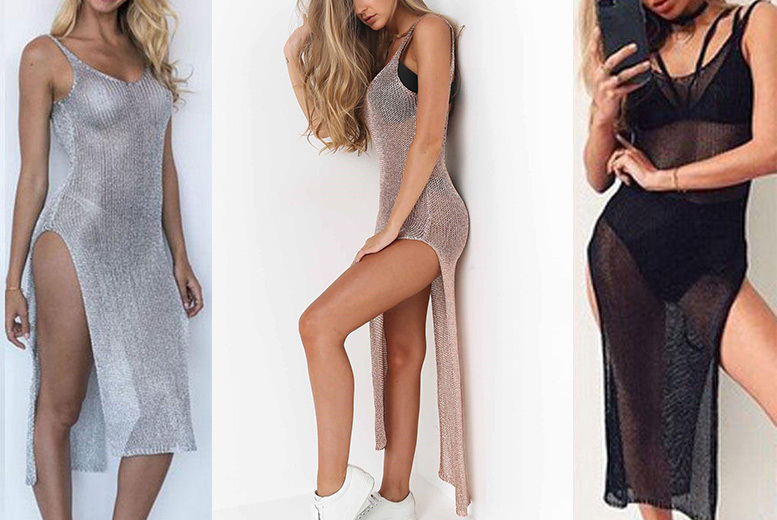 Metallic Mesh Beach Cover-Up Dress – 3 Colours & Sizes 6-14! for £9.00