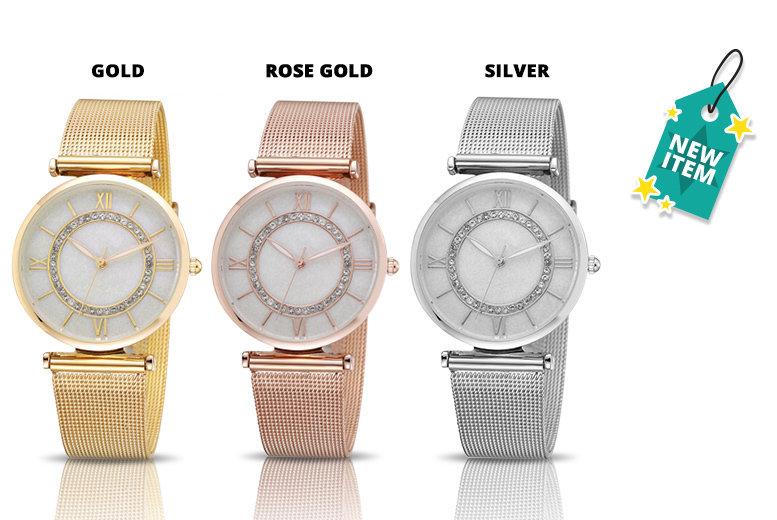 Summer Crystal Halo Mesh Watch – 3 Designs! for £8.99