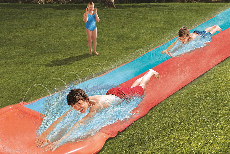 2-in-1 Double 18ft Water Slide & Vertical Sprinkler for £19.99