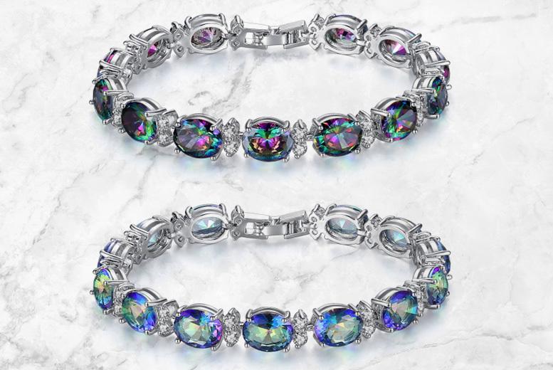 Rainbow Crystal Bracelet – 2 Colour Options! for £14.00