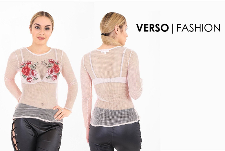 Long Sleeve Embroidered Mesh Top – 4 Sizes! for £5.99