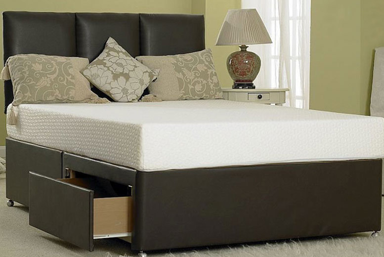 Designer Faux Leather Divan Bed With Storage Options - 5 Sizes!