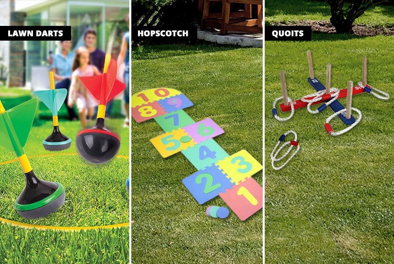 Garden Family Game – Quoits, Hopscotch, or Giant Lawn Darts! from £5.99