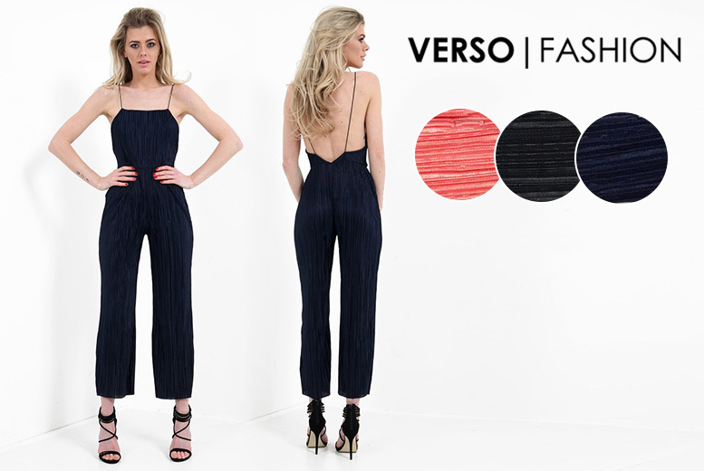 Pleated Jumpsuit – 3 Colours & UK Sizes 8-14! for £14.00