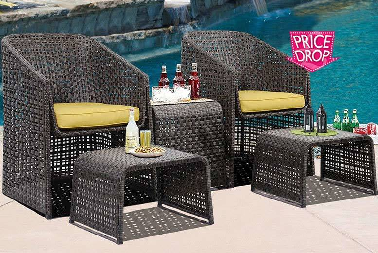 £119 instead of £450 (from Costway) for a five-piece Rattan garden furniture set with footstools - save 74%