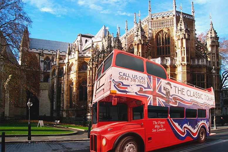 From £7 instead of £12 for a child's ticket or £9 for an adult ticket for the open top classic bus tour of London from The Classic Tour, London - save up to 42%