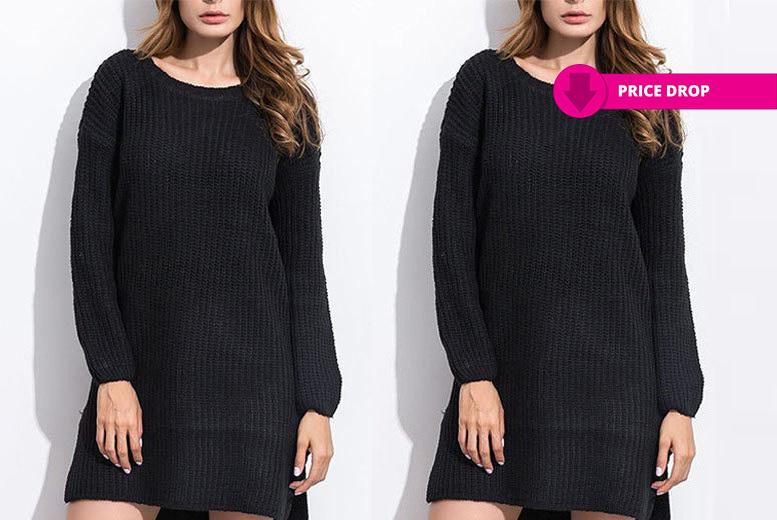 Long Sleeve Jumper Dress – 2 Colours! for £9.00