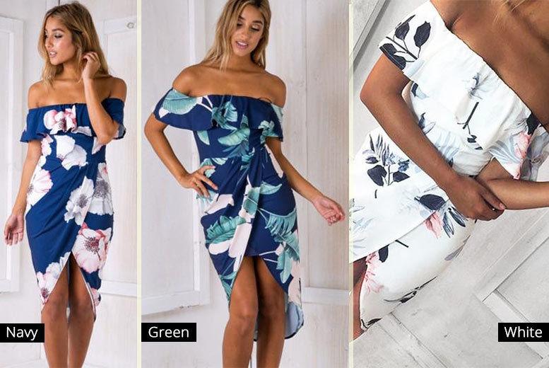 Asymmetric Bardot Dress – 3 Colours & UK Sizes 6-12! for £9.00