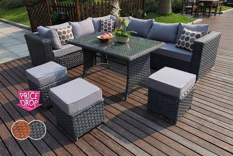 £529 instead of £975 (from Dreams Living) for a nine-seater L-shaped rattan dining set - save an easy breezy 46%