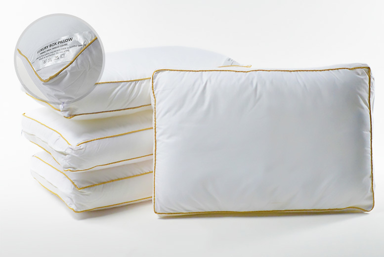 Gold-Piped Anti-Allergenic Box Pillows - 1, 2 or 4!