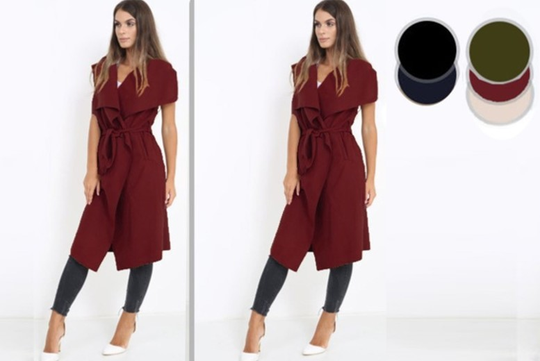 Sleeveless Tie Waist Waterfall Jacket – 5 Colours! for £12.99