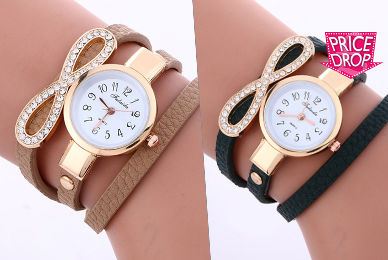 Ladies' Infinity Crystal Wrap Watch - 4 Colours!