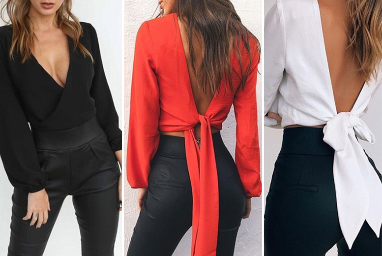 Deep V-Neck Backless Tie Blouse – 4 Colours! for £8.00