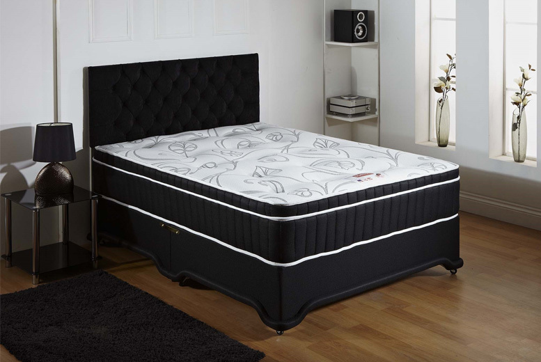 Black Divan Bed with 1500 Pocket Mattress and Headboard from £169.00
