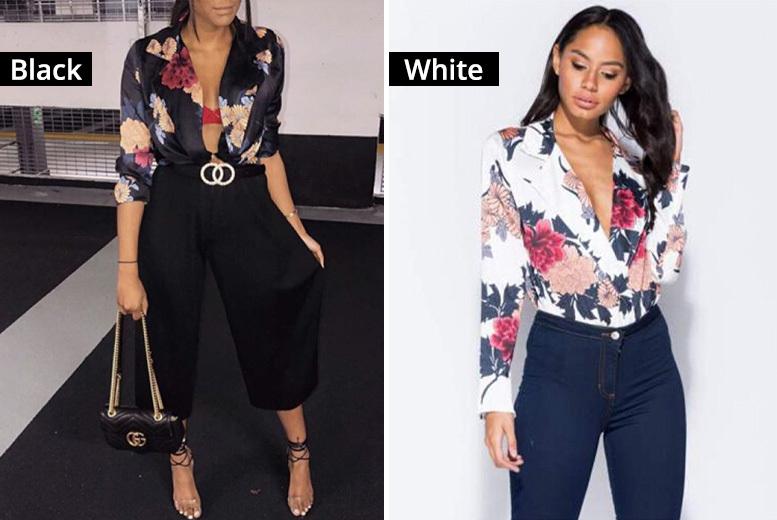 Floral Shirt Bodysuit – 4 Colours! for £8.99