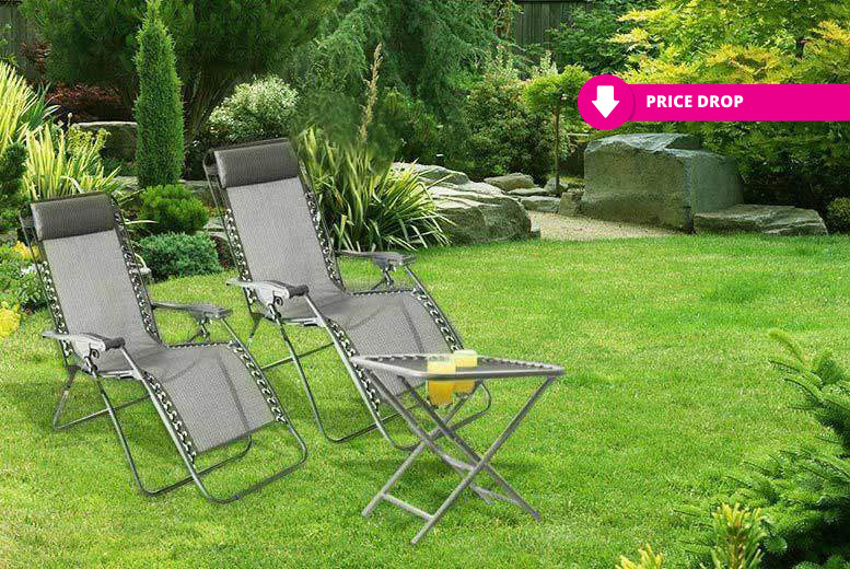 2 Zero Gravity Recliners & Table – 2 Colours! for £59.00