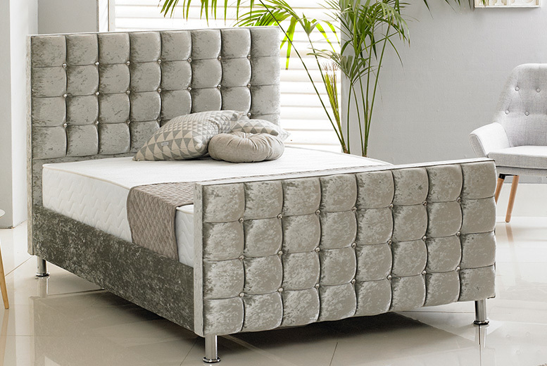 Cube Crushed Velvet Bed
