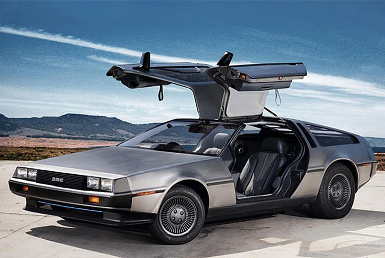 £39 for three laps in a DeLorean car as seen in Back to the Future at Car Chase Heroes - choose from two locations