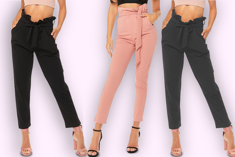 'Paper Bag' Tie Waist Trousers – 3 Colours! for £11.99