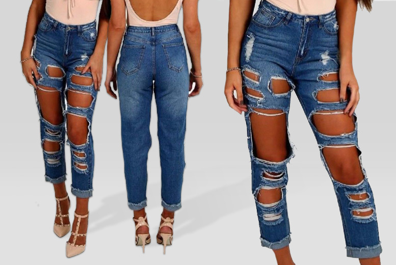 Ripped Boyfriend Jeans – 4 Colours! for £12.99