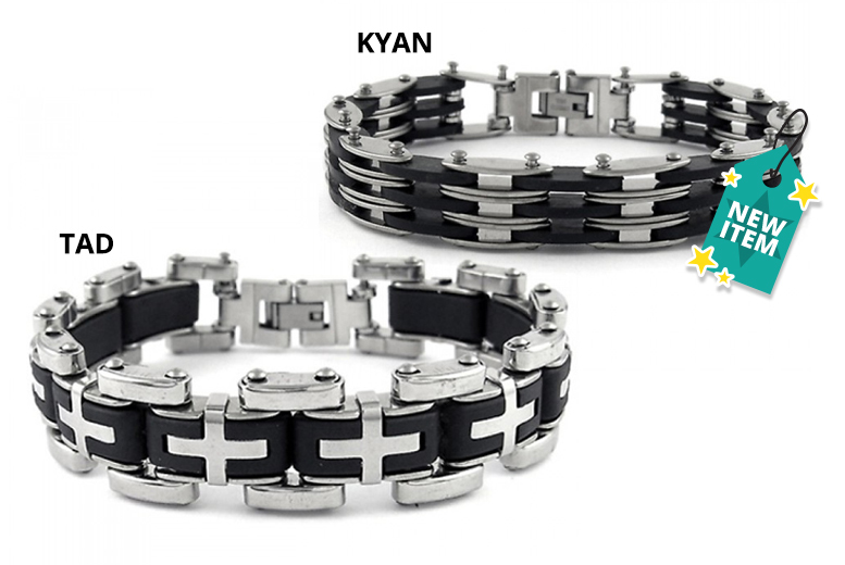 Men's Steel Link Bracelet - 2 Designs!