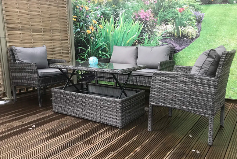 4-Seater Dining or Lounging Rattan Sofa Set – 2 Colours! for £299.00