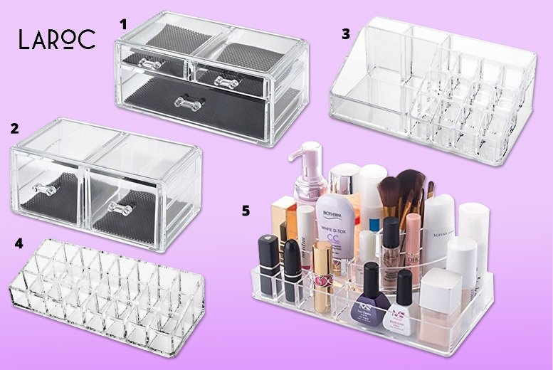 Clear Acrylic Makeup Organiser – 5 Options! from £4.99