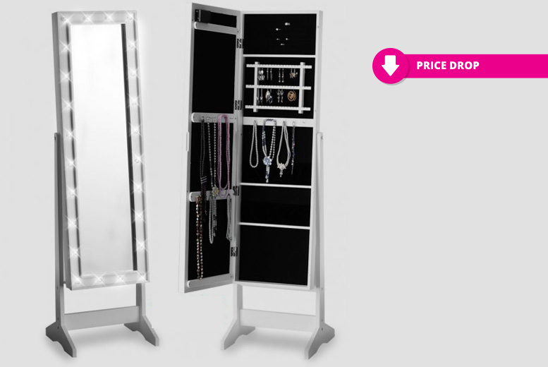 2-In-1 LED Mirror & Jewellery Cabinet – 2 Sizes! for £49.00