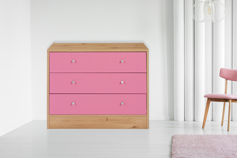 Malibu Pink 3-Drawer Chest for £39.00