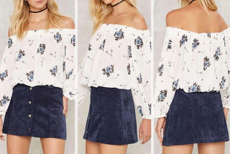 Floral Print Bardot Blouse – Sizes 6-14! for £4.99