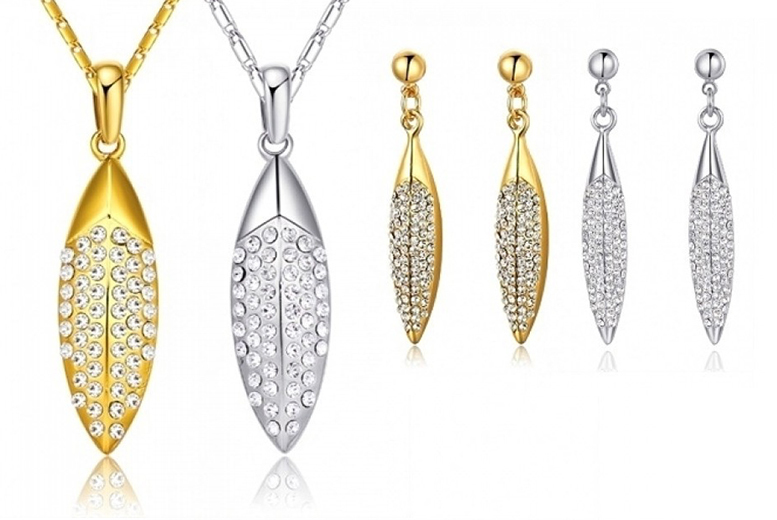Crystal Leaves Necklace & Earrings Set - 2 Colours!
