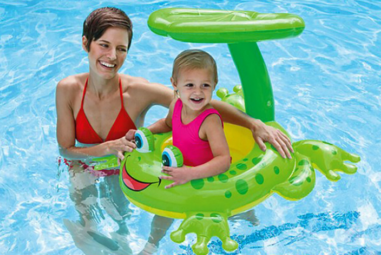Kids' Inflatable with Sunshade – Frog or Shark! for £9.99